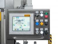 Automation package with touch-screen panel interface that includes PLC management of: incoming bottle accumulation, bottle stop with automatic gate, automatic speed variation, jog operation, production lots and alarms management.