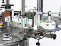 Self-adhesive label distribution units mounted directly on the machine or modular (added or removed according to production requirements)